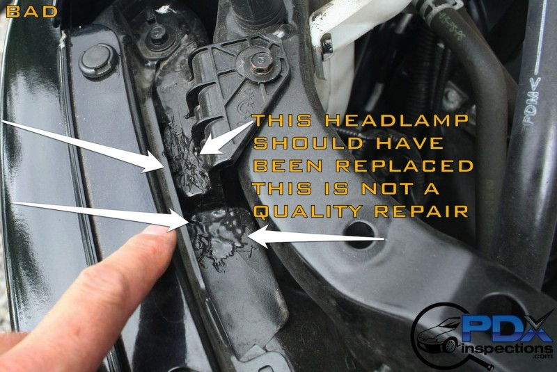 Bad headlamp repair from front end collision