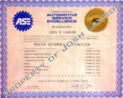 Josh Lawson PDXinspections ASE Master Certification