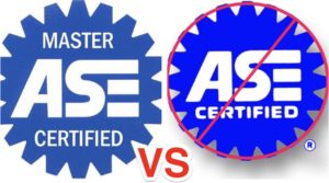 ONLY ASE Master Certified Technicians should be inspecting vehicles